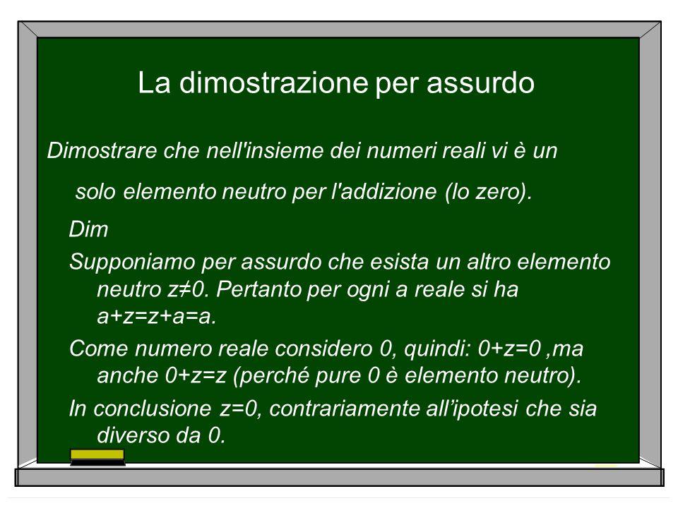 La dimostrazione per assurdo Dimostrare che nell'insieme dei numeri reali vi è un solo elemento neutro per l'addizione (lo zero). Dim Supponiamo per a