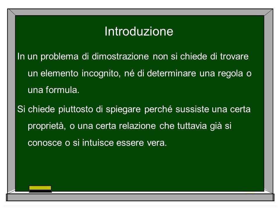 Introduzione In un problema di dimostrazione non si chiede di trovare un elemento incognito, né di determinare una regola o una formula. Si chiede piu