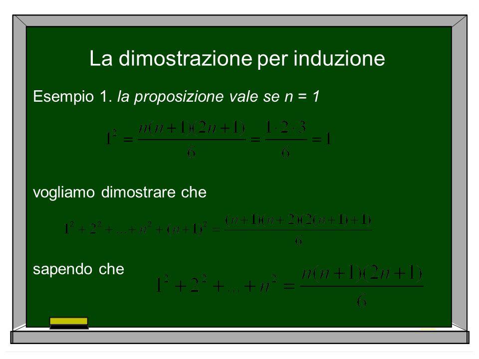 La dimostrazione per induzione Esempio 1. la proposizione vale se n = 1 vogliamo dimostrare che sapendo che