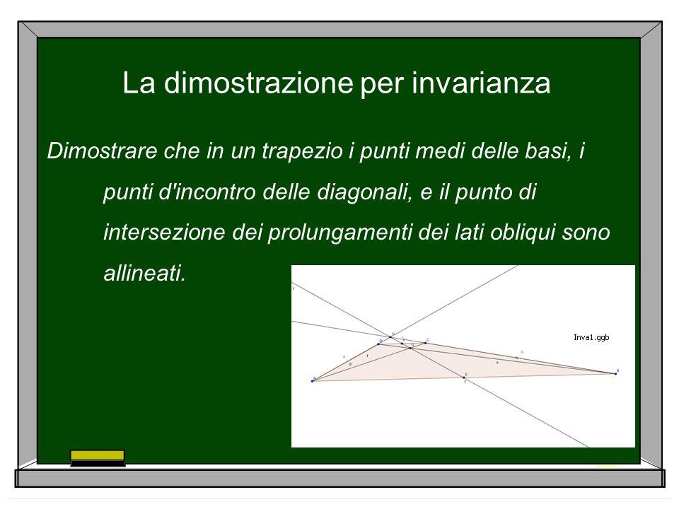 La dimostrazione per invarianza Dimostrare che in un trapezio i punti medi delle basi, i punti d'incontro delle diagonali, e il punto di intersezione