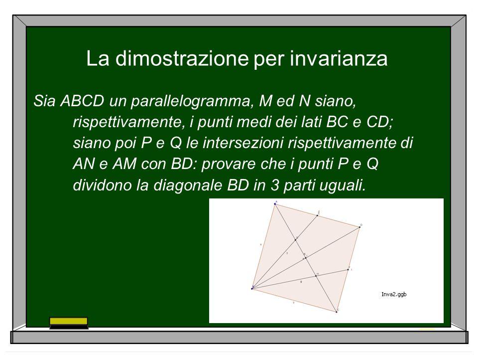 La dimostrazione per invarianza Sia ABCD un parallelogramma, M ed N siano, rispettivamente, i punti medi dei lati BC e CD; siano poi P e Q le intersez