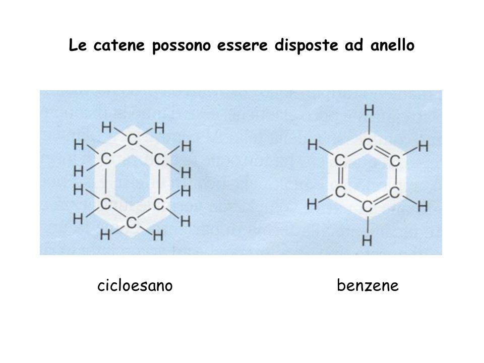 Le catene possono essere disposte ad anello cicloesanobenzene