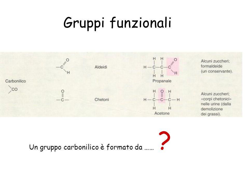 Gruppi funzionali Un gruppo carbonilico è formato da …… ?