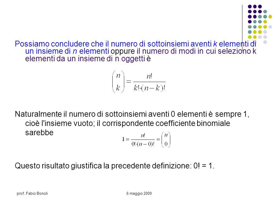prof. Fabio Bonoli6 maggio 2009 Possiamo concludere che il numero di sottoinsiemi aventi k elementi di un insieme di n elementi oppure il numero di mo