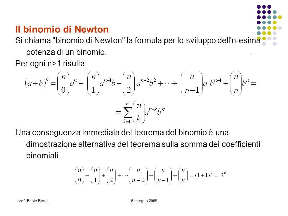 prof. Fabio Bonoli6 maggio 2009 Il binomio di Newton Si chiama
