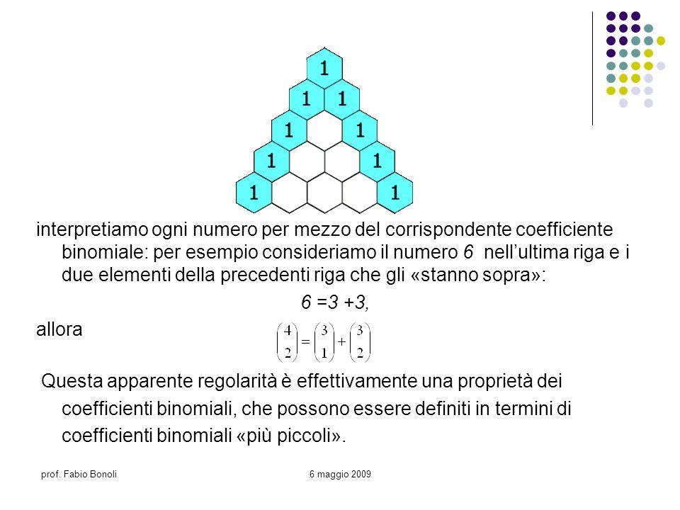 prof. Fabio Bonoli6 maggio 2009 interpretiamo ogni numero per mezzo del corrispondente coefficiente binomiale: per esempio consideriamo il numero 6 ne