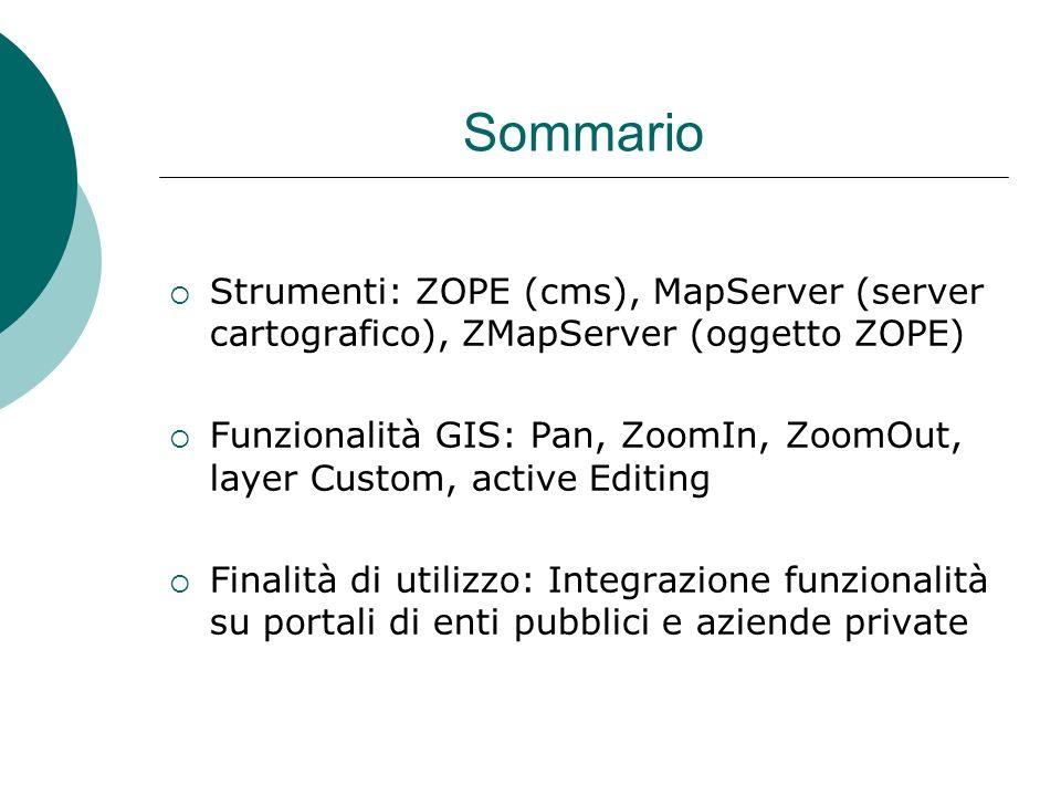 Sommario Strumenti: ZOPE (cms), MapServer (server cartografico), ZMapServer (oggetto ZOPE) Funzionalità GIS: Pan, ZoomIn, ZoomOut, layer Custom, active Editing Finalità di utilizzo: Integrazione funzionalità su portali di enti pubblici e aziende private