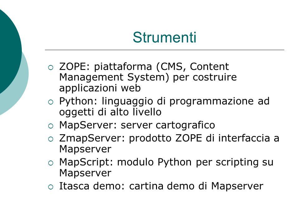 Strumenti ZOPE: piattaforma (CMS, Content Management System) per costruire applicazioni web Python: linguaggio di programmazione ad oggetti di alto livello MapServer: server cartografico ZmapServer: prodotto ZOPE di interfaccia a Mapserver MapScript: modulo Python per scripting su Mapserver Itasca demo: cartina demo di Mapserver