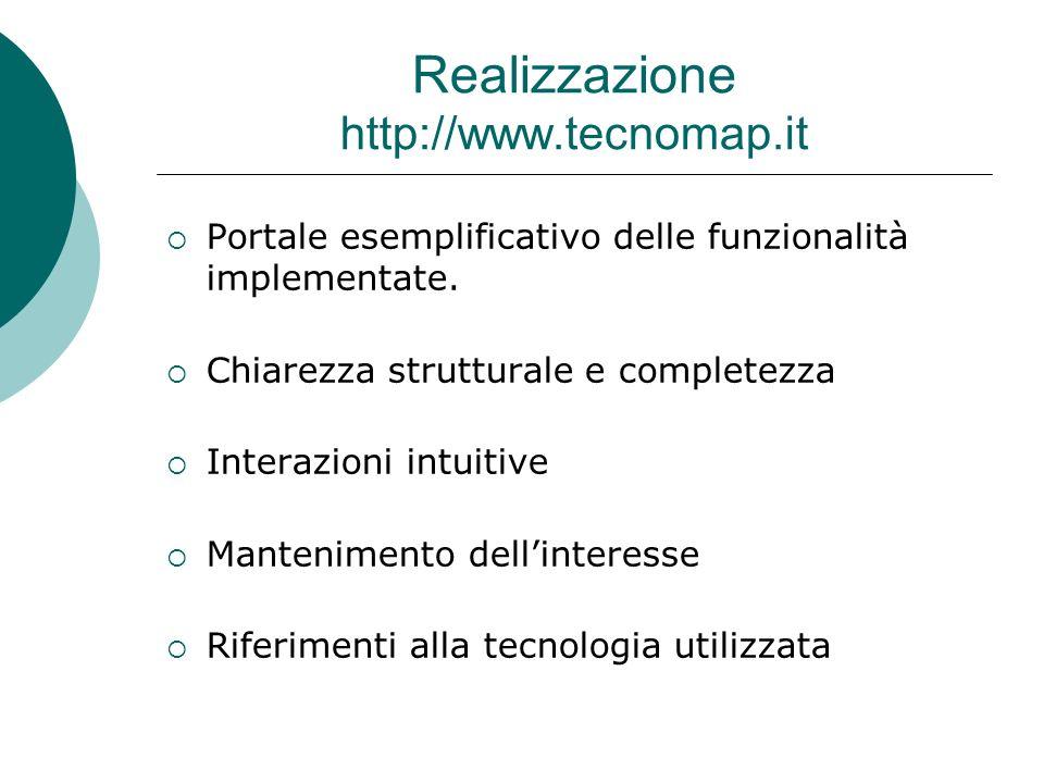 Realizzazione http://www.tecnomap.it Portale esemplificativo delle funzionalità implementate.