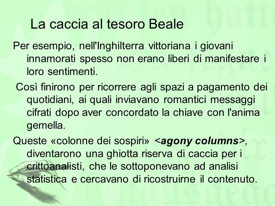 La caccia al tesoro Beale Per esempio, nell'Inghilterra vittoriana i giovani innamorati spesso non erano liberi di manifestare i loro sentimenti. Così