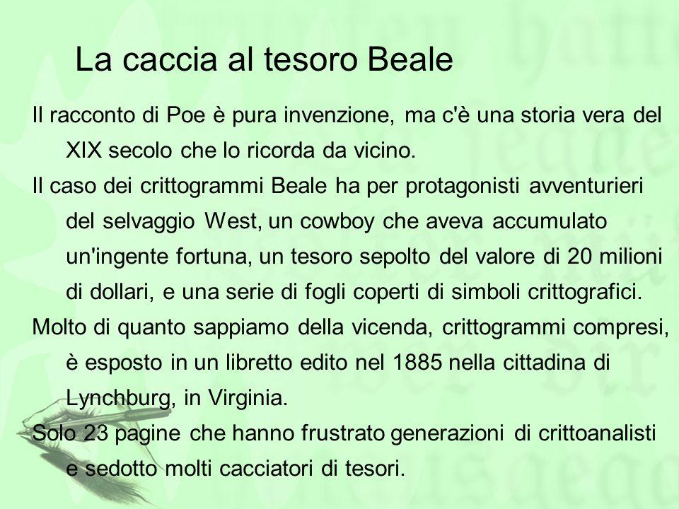La caccia al tesoro Beale Il racconto di Poe è pura invenzione, ma c'è una storia vera del XIX secolo che lo ricorda da vicino. Il caso dei crittogram