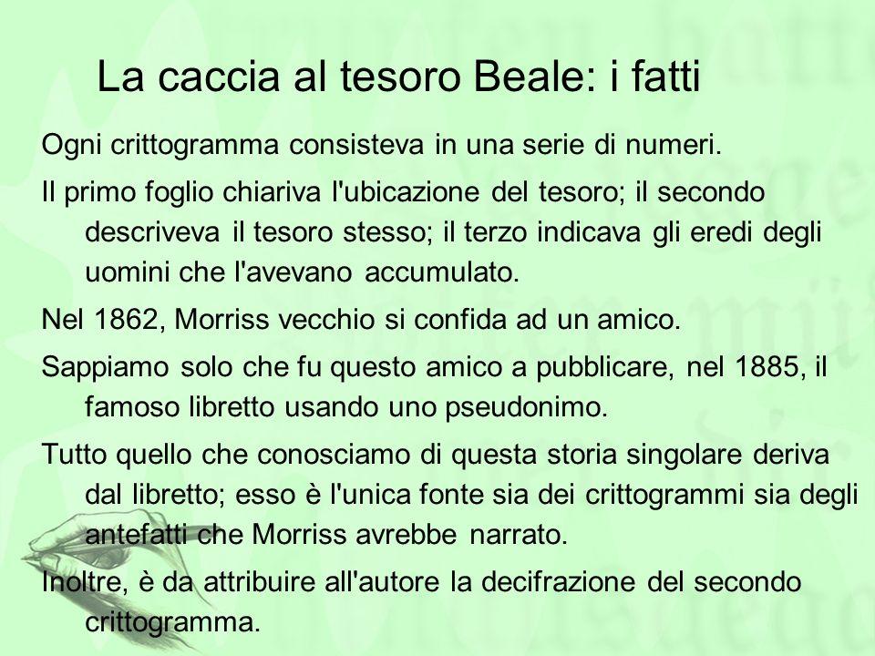 La caccia al tesoro Beale: i fatti Ogni crittogramma consisteva in una serie di numeri. Il primo foglio chiariva l'ubicazione del tesoro; il secondo d
