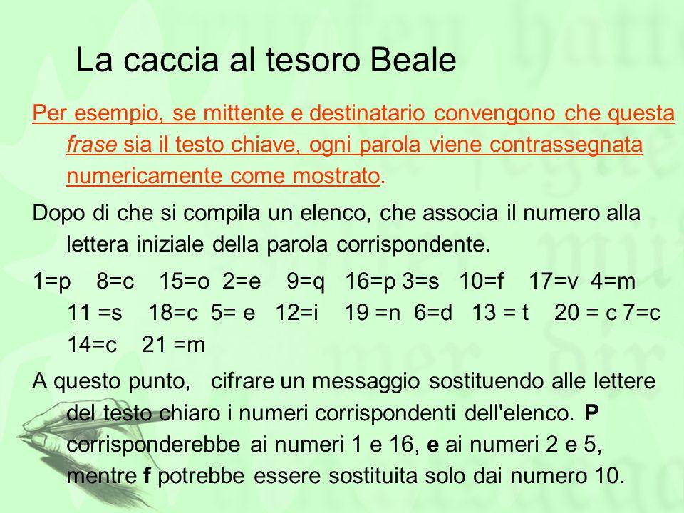 La caccia al tesoro Beale Per esempio, se mittente e destinatario convengono che questa frase sia il testo chiave, ogni parola viene contrassegnata nu