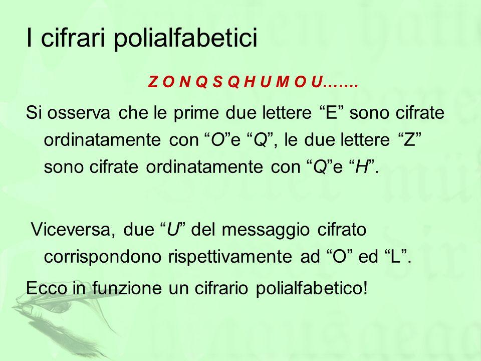 I cifrari polialfabetici Si osserva che le prime due lettere E sono cifrate ordinatamente con Oe Q, le due lettere Z sono cifrate ordinatamente con Qe