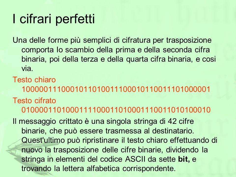 I cifrari perfetti Una delle forme più semplici di cifratura per trasposizione comporta Io scambio della prima e della seconda cifra binaria, poi dell