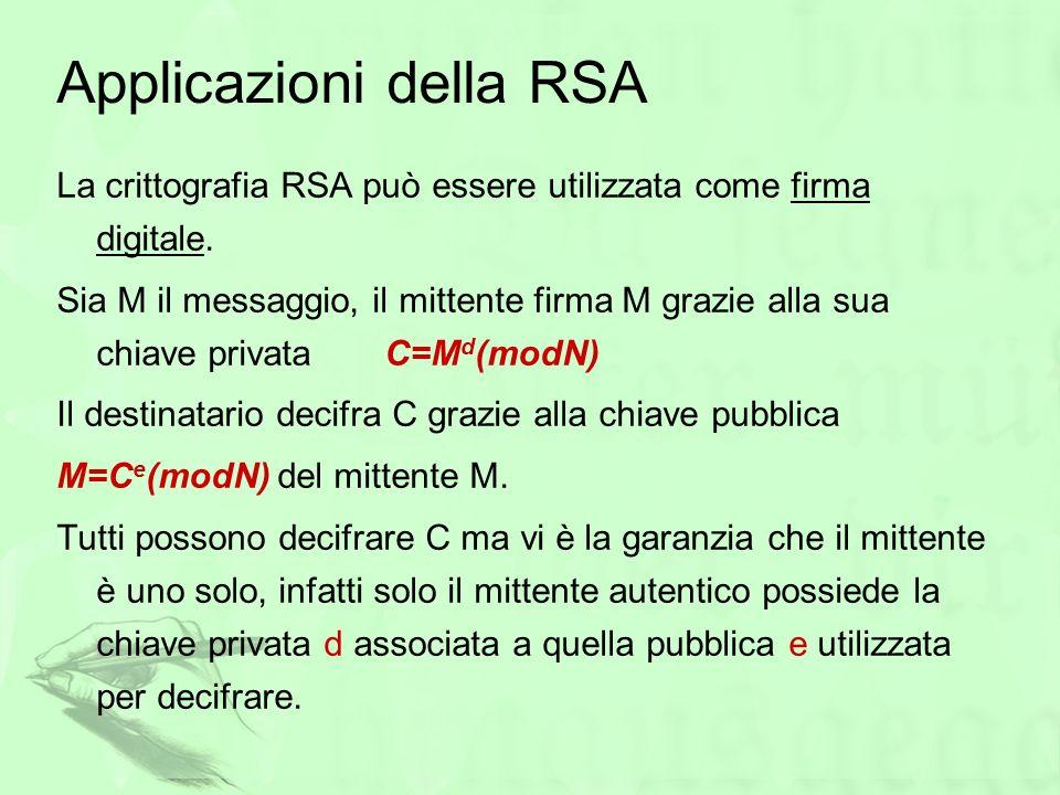 Applicazioni della RSA La crittografia RSA può essere utilizzata come firma digitale. Sia M il messaggio, il mittente firma M grazie alla sua chiave p