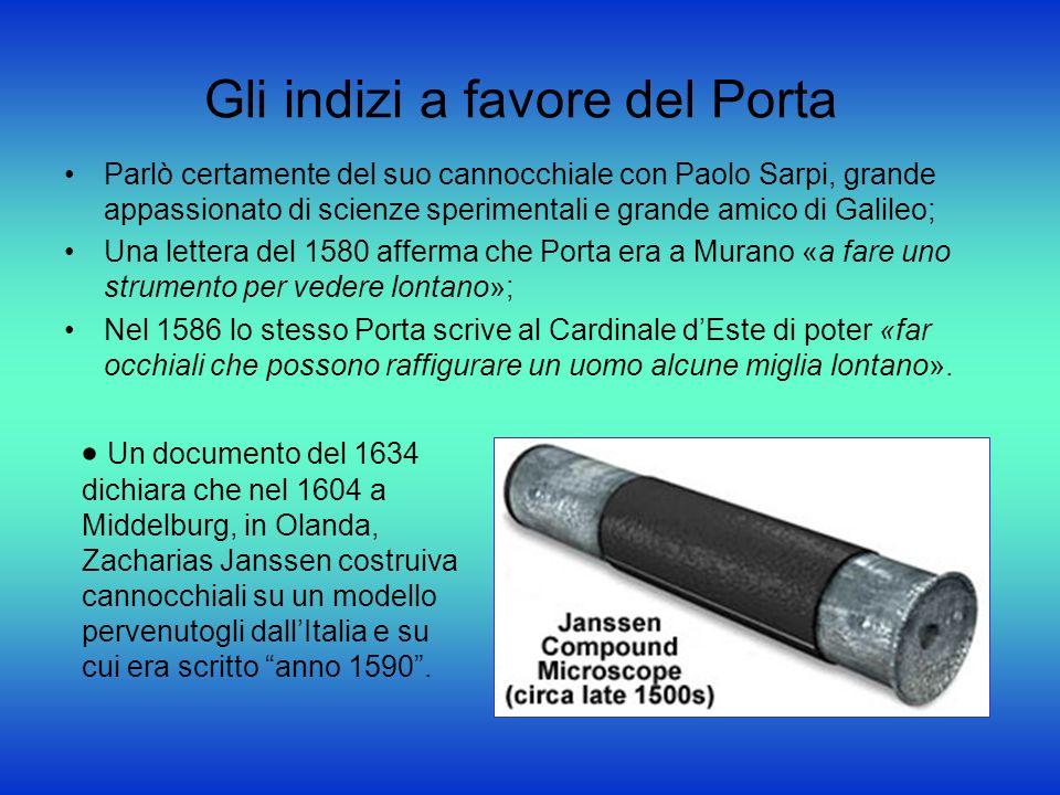 Gli indizi a favore del Porta Parlò certamente del suo cannocchiale con Paolo Sarpi, grande appassionato di scienze sperimentali e grande amico di Gal
