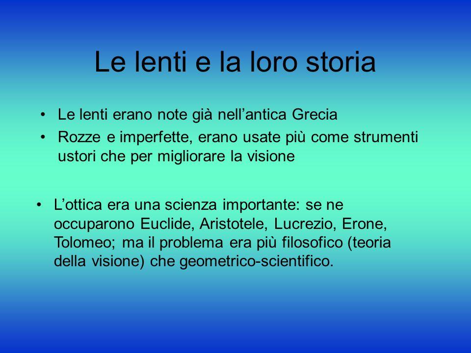 Le lenti e la loro storia Le lenti erano note già nellantica Grecia Rozze e imperfette, erano usate più come strumenti ustori che per migliorare la vi