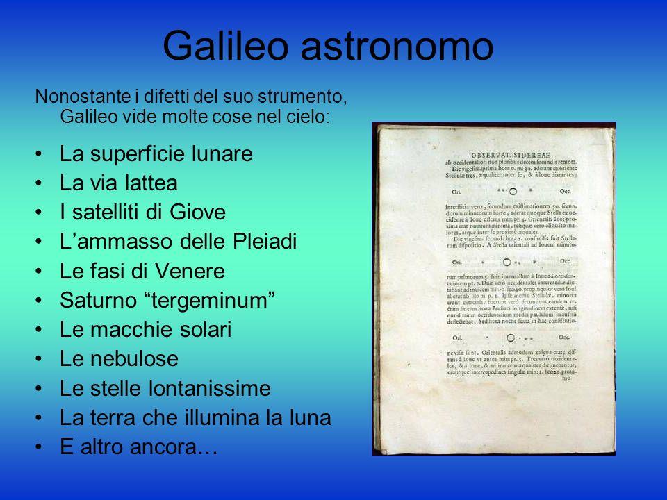 Galileo astronomo Nonostante i difetti del suo strumento, Galileo vide molte cose nel cielo: La superficie lunare La via lattea I satelliti di Giove L