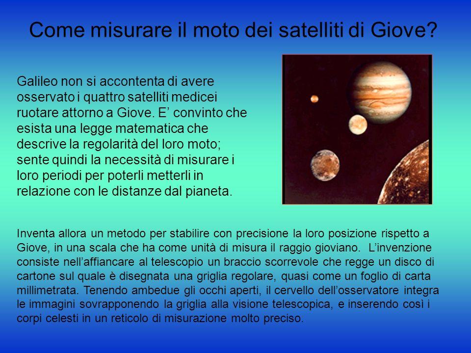 Come misurare il moto dei satelliti di Giove? Galileo non si accontenta di avere osservato i quattro satelliti medicei ruotare attorno a Giove. E conv