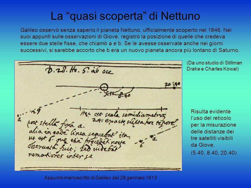 La quasi scoperta di Nettuno Galileo osservò senza saperlo il pianeta Nettuno, ufficialmente scoperto nel 1846. Nei suoi appunti sulle osservazioni di