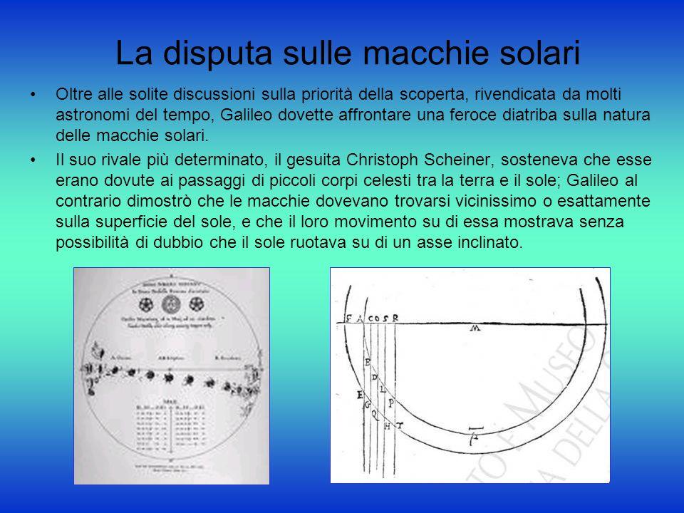 La disputa sulle macchie solari Oltre alle solite discussioni sulla priorità della scoperta, rivendicata da molti astronomi del tempo, Galileo dovette