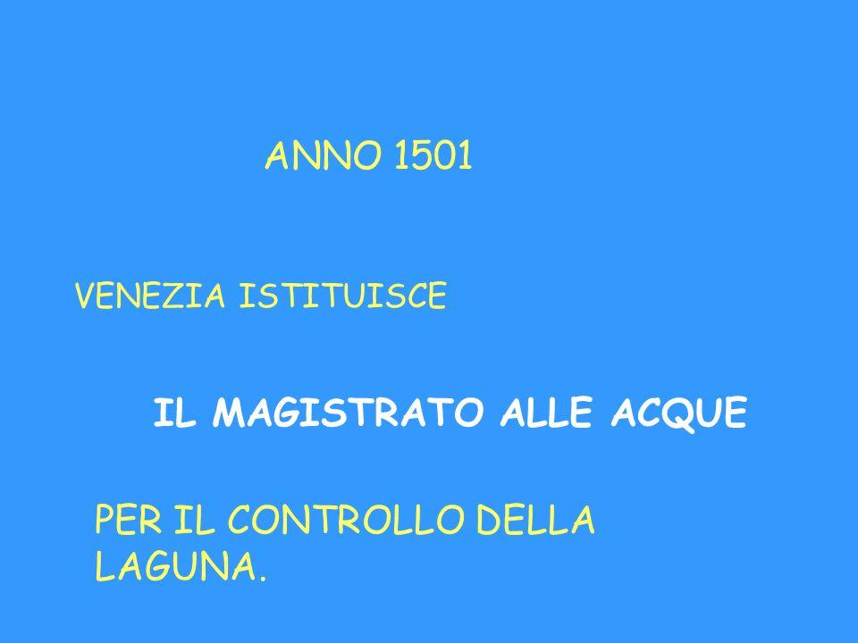 ANNO 1501 VENEZIA ISTITUISCE IL MAGISTRATO ALLE ACQUE PER IL CONTROLLO DELLA LAGUNA.