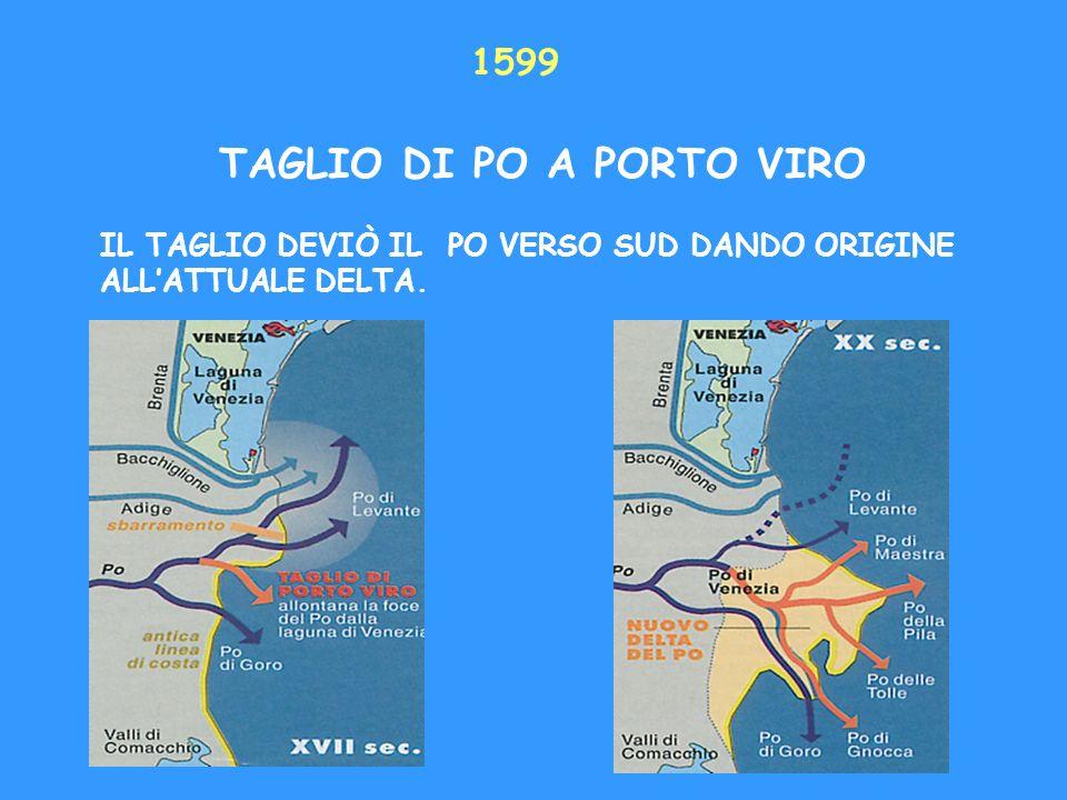 1599 TAGLIO DI PO A PORTO VIRO IL TAGLIO DEVIÒ IL PO VERSO SUD DANDO ORIGINE ALLATTUALE DELTA.