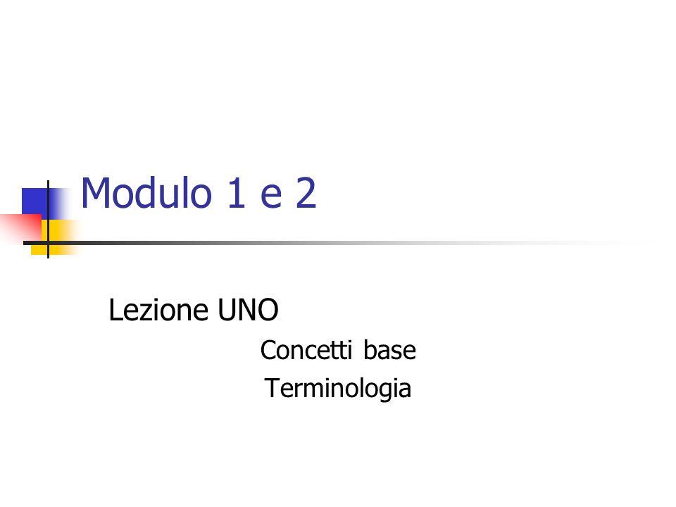 Modulo 1 e 2 Lezione UNO Concetti base Terminologia