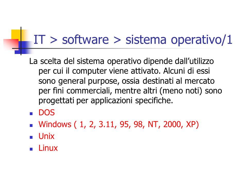 IT > software > sistema operativo/1 La scelta del sistema operativo dipende dallutilizzo per cui il computer viene attivato. Alcuni di essi sono gener