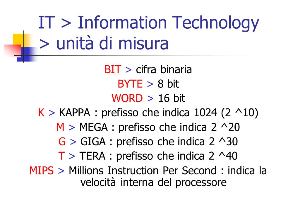 IT > Information Technology > unità di misura BIT > cifra binaria BYTE > 8 bit WORD > 16 bit K > KAPPA : prefisso che indica 1024 (2 ^10) M > MEGA : p