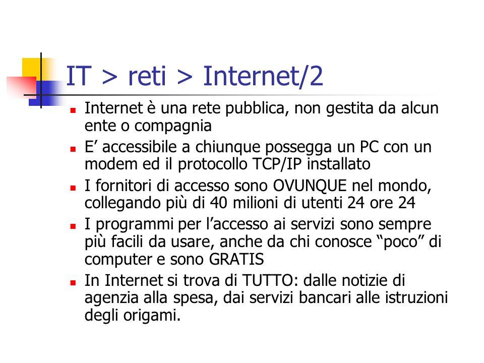 Internet è una rete pubblica, non gestita da alcun ente o compagnia E accessibile a chiunque possegga un PC con un modem ed il protocollo TCP/IP insta