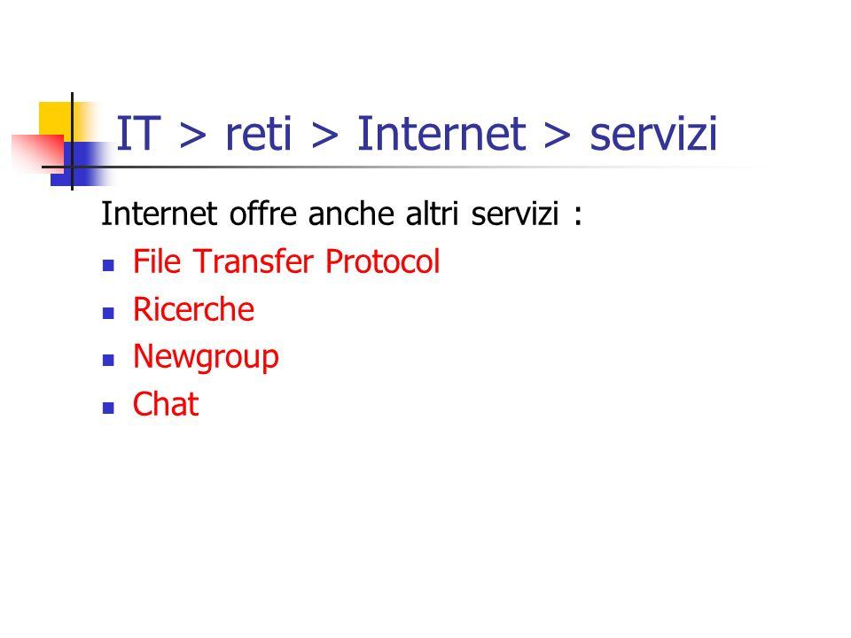 Internet offre anche altri servizi : File Transfer Protocol Ricerche Newgroup Chat IT > reti > Internet > servizi
