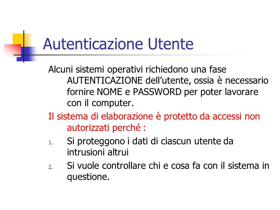 Alcuni sistemi operativi richiedono una fase AUTENTICAZIONE dellutente, ossia è necessario fornire NOME e PASSWORD per poter lavorare con il computer.