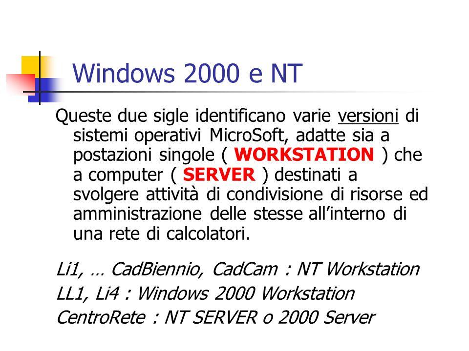 Queste due sigle identificano varie versioni di sistemi operativi MicroSoft, adatte sia a postazioni singole ( WORKSTATION ) che a computer ( SERVER )