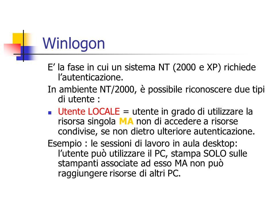 E la fase in cui un sistema NT (2000 e XP) richiede lautenticazione. In ambiente NT/2000, è possibile riconoscere due tipi di utente : Utente LOCALE =