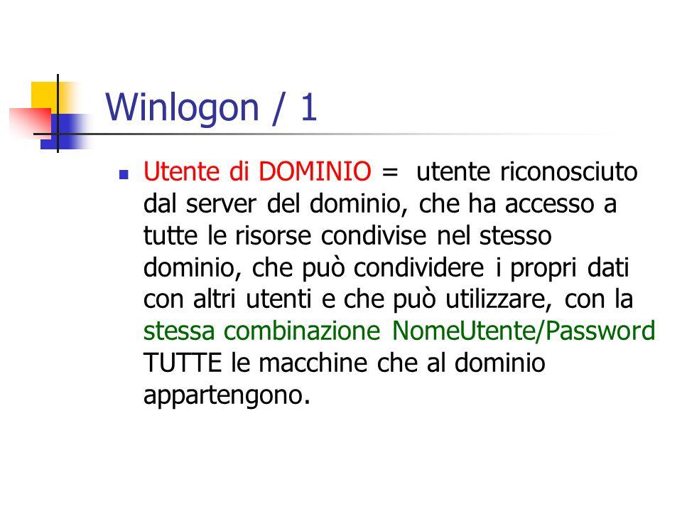 Utente di DOMINIO = utente riconosciuto dal server del dominio, che ha accesso a tutte le risorse condivise nel stesso dominio, che può condividere i