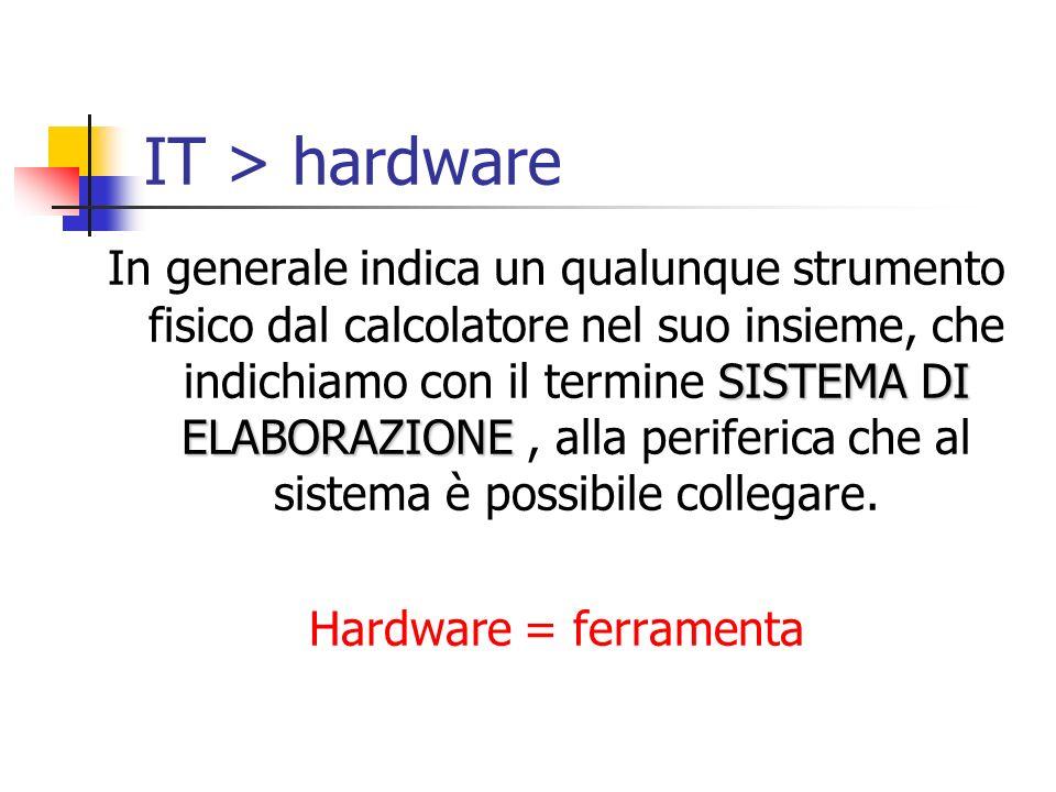 IT > hardware SISTEMA DI ELABORAZIONE In generale indica un qualunque strumento fisico dal calcolatore nel suo insieme, che indichiamo con il termine