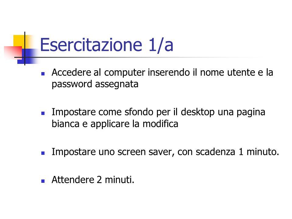 Esercitazione 1/a Accedere al computer inserendo il nome utente e la password assegnata Impostare come sfondo per il desktop una pagina bianca e appli