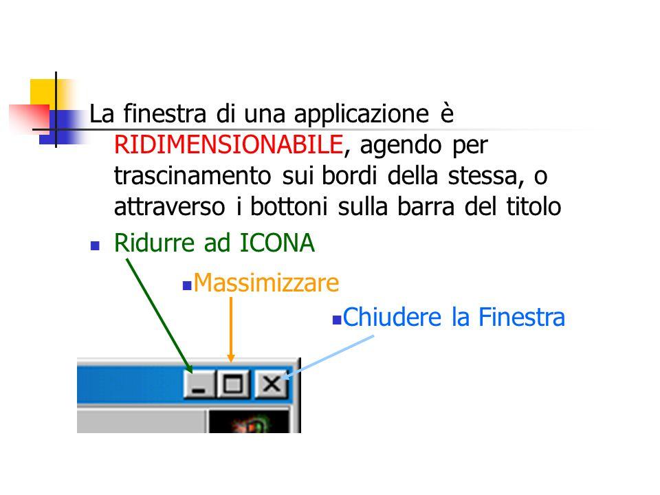 La finestra di una applicazione è RIDIMENSIONABILE, agendo per trascinamento sui bordi della stessa, o attraverso i bottoni sulla barra del titolo Rid