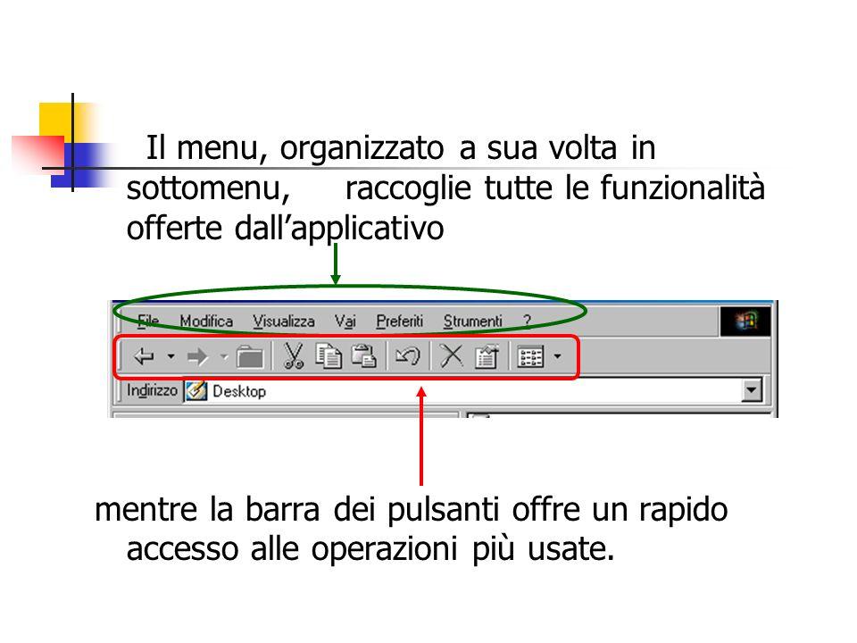 Il menu, organizzato a sua volta in sottomenu, raccoglie tutte le funzionalità offerte dallapplicativo mentre la barra dei pulsanti offre un rapido ac