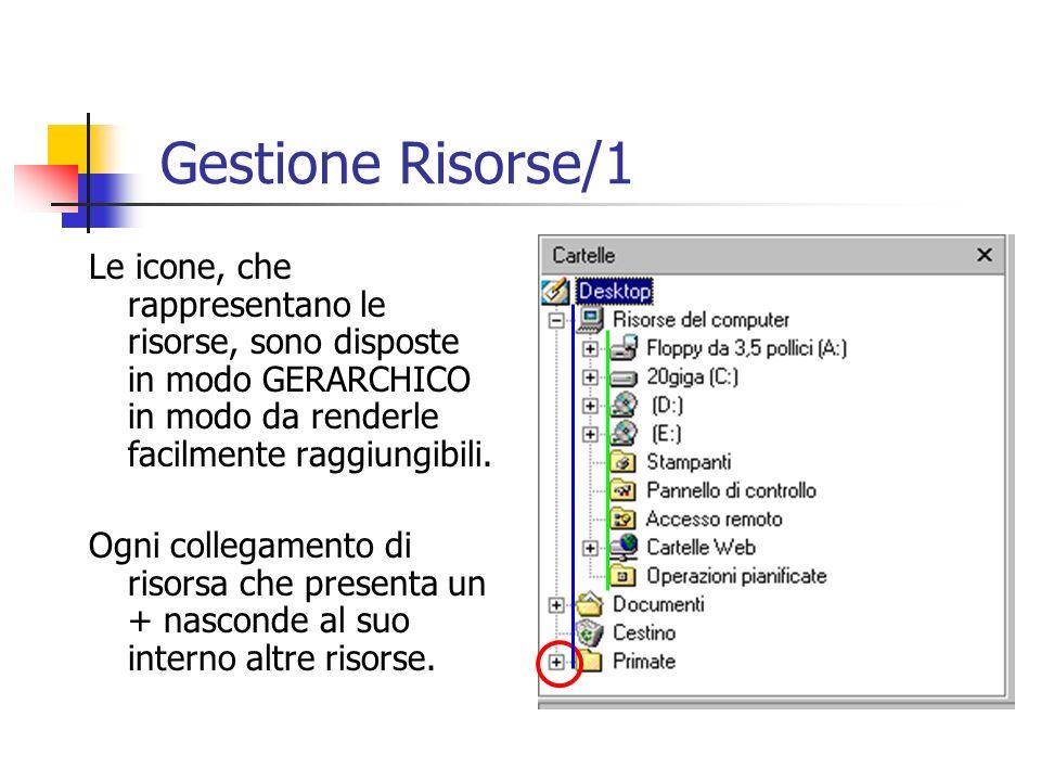 Le icone, che rappresentano le risorse, sono disposte in modo GERARCHICO in modo da renderle facilmente raggiungibili. Ogni collegamento di risorsa ch