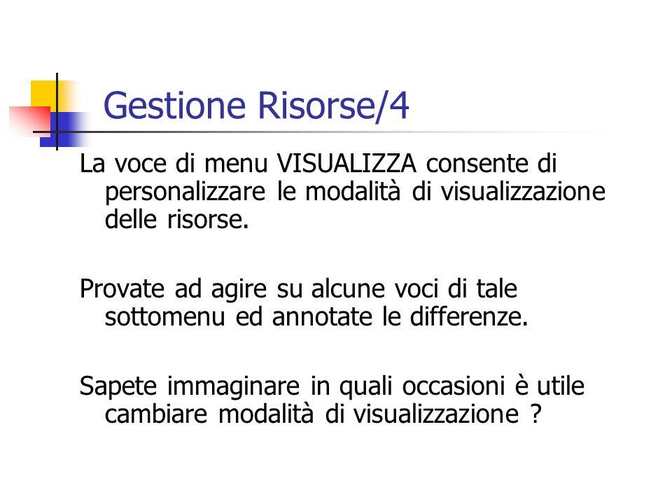 La voce di menu VISUALIZZA consente di personalizzare le modalità di visualizzazione delle risorse. Provate ad agire su alcune voci di tale sottomenu