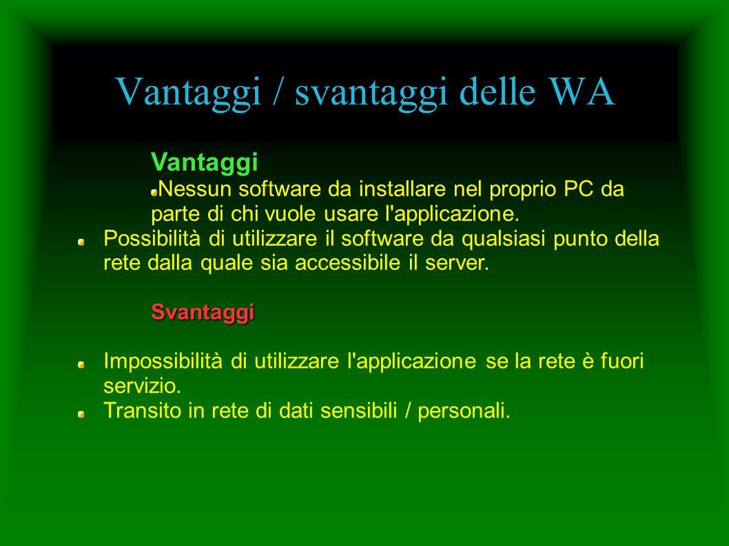 Vantaggi / svantaggi delle WA Vantaggi Nessun software da installare nel proprio PC da parte di chi vuole usare l'applicazione. Possibilità di utilizz