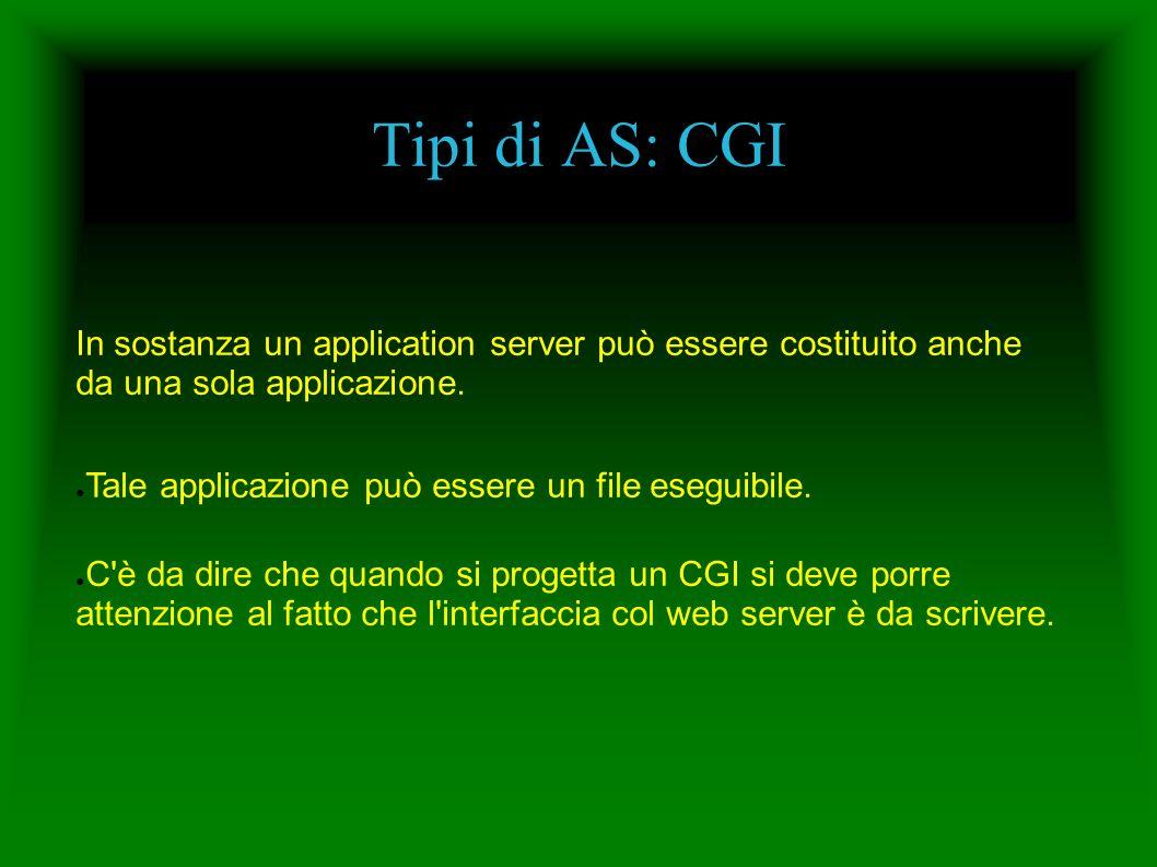 Tipi di AS: CGI In sostanza un application server può essere costituito anche da una sola applicazione. Tale applicazione può essere un file eseguibil