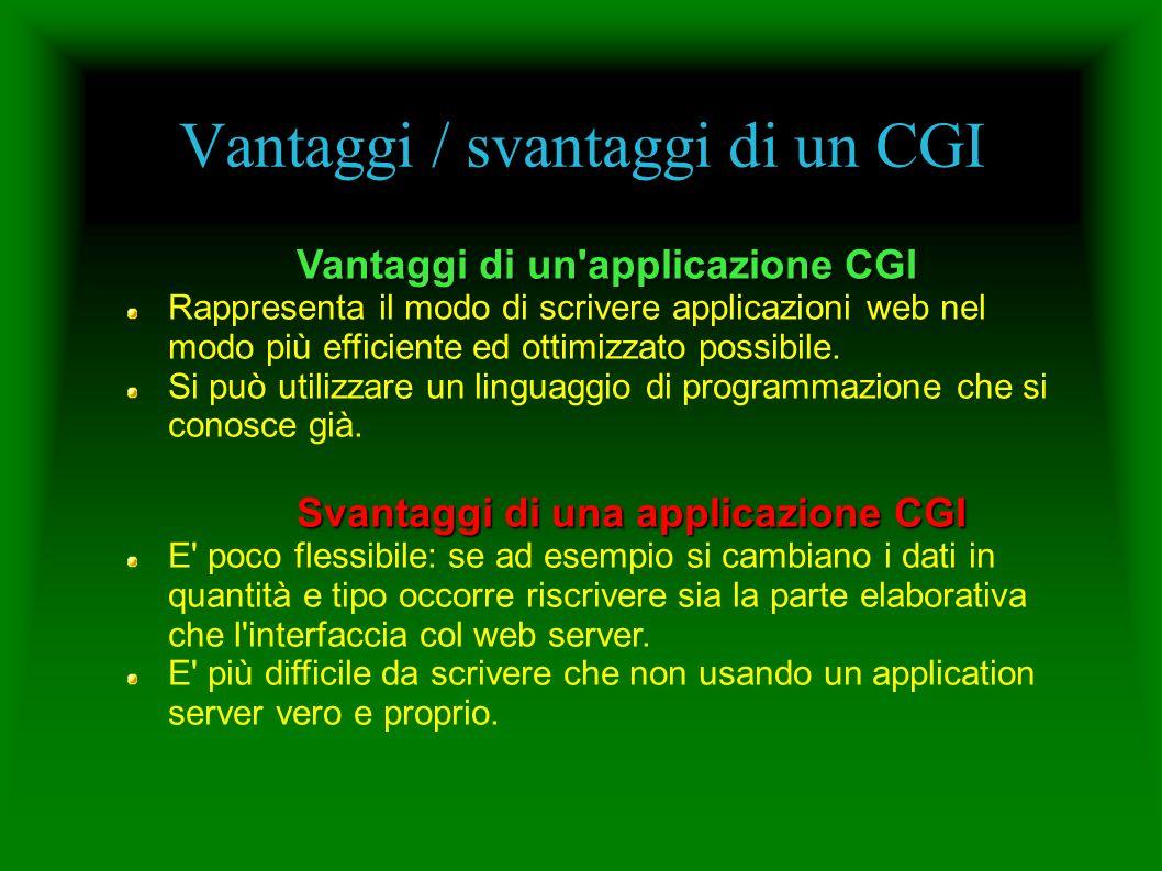 Vantaggi / svantaggi di un CGI Vantaggi di un applicazione CGI Rappresenta il modo di scrivere applicazioni web nel modo più efficiente ed ottimizzato possibile.