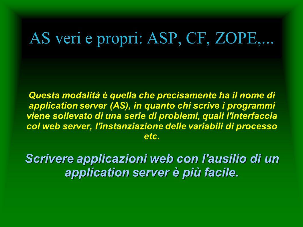 AS veri e propri: ASP, CF, ZOPE,... Questa modalità è quella che precisamente ha il nome di application server (AS), in quanto chi scrive i programmi