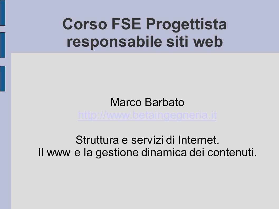 Corso FSE Progettista responsabile siti web Marco Barbato http://www.betaingegneria.it http://www.betaingegneria.it Struttura e servizi di Internet.