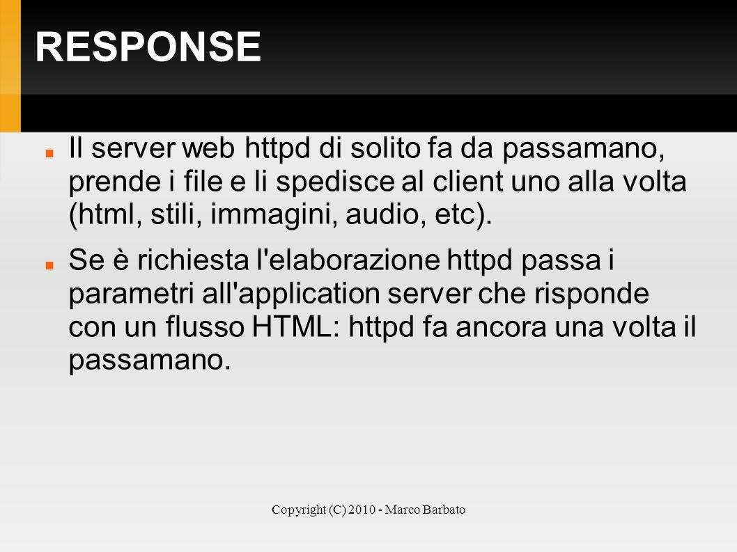 Copyright (C) 2010 - Marco Barbato RESPONSE Il server web httpd di solito fa da passamano, prende i file e li spedisce al client uno alla volta (html,