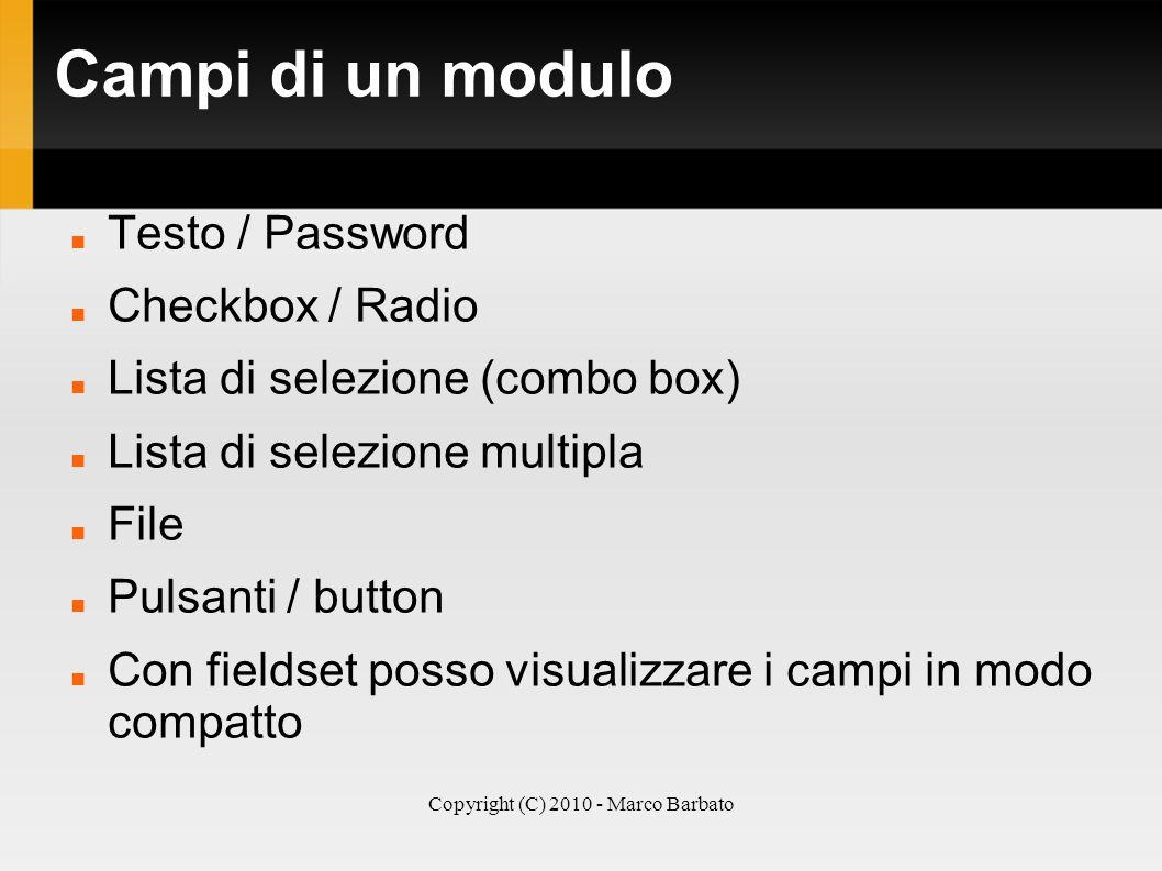 Copyright (C) 2010 - Marco Barbato Campi di un modulo Testo / Password Checkbox / Radio Lista di selezione (combo box) Lista di selezione multipla Fil